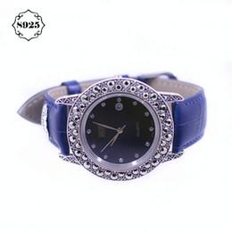 часы из чистого серебра Скидка Новые поступления HF Кожаный ремешок браслет Смотреть высокое качество Real Silver Watch Real Pure Silver браслет часы браслет часы браслет