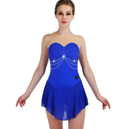 competizioni di pattinaggio su ghiaccio delle ragazze Sconti Pattinaggio di figura Vestito da donna senza maniche Elasticità blu strass Abiti da pattinaggio su ghiaccio Ragazze Competizione Performance Wear ZH8020