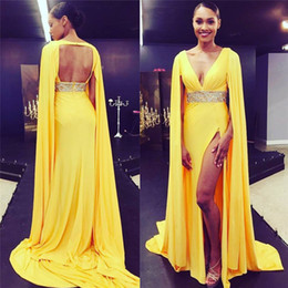 Wholesale chiffon floor length cape - Custom Yellow Prom Dresses with Cape Long 2018 Sexy Deep V Neck Backless Beading Belt High Split Plus Size Formal Evening Celebrity Gowns