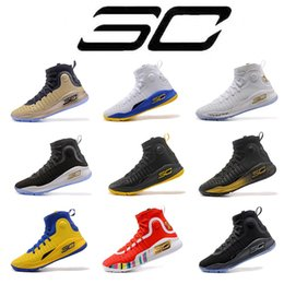Wholesale Blue Curry - 2018 Stephen Curry 4 Basketball casual Shoes steph Mens Curry 4 Gold Championship MVP Finals Sports training Sneakers Run Shoes Size 40-46