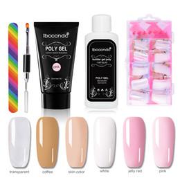 Kit de uñas falsas uv online-Ibccc 5 unids / set Profesional Nail Art UV Gel Hard Jelly Builder Gel Híbridos Barnices French False Nail Glue Poly Kit