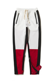 Wholesale Vertical Stripes Fashion - 2018 Best version justin bieber FOG Vertical stripes splice men Side zipper jogger pants hip hop Fashion Casual pants 3 Color