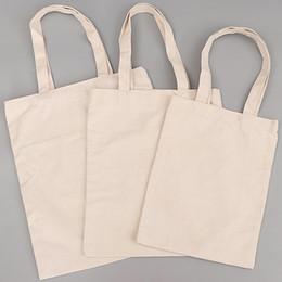 halloween totes vuoto Sconti Promozionale Blank Cotton Tote sacchetto ecologico riutilizzabile Economy Designer Do-It-Yourself Bianco Cotton Canvas Grocery Shopping Tote Bag