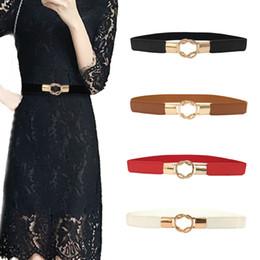 Nouveau 4 Couleurs Or Cercle Boucle Ceinture Mince 1 PC Élastique  Confortable femmes élastiques ceinture étroite robe décorative petite ceinture  ceintures ... f99e2e542bd