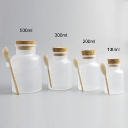 12 X Leere 100g 200g 300g 500g Pulver Plastikflasche 100G Badesalz Glas Mit  Holz Kork Holzlöffel Günstige Bad Salz Holz Löffel