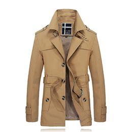 Wholesale Men S Belted Trench Coat - Wholesale- Men Trench Coat With Belt New Arrival Winter Medium-Long Windproof Slim Fit Thin Jacket Coat Business Cotton Windbreaker SL-E459