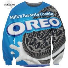 Wholesale Oreo Cookies - Wholesale- New Fashion Women Men Crewneck Tops Milks Favorite OREO Cookie Print Pullover 3D Sweatshirt Hoodie Galaxy Sweat Suits
