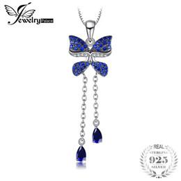 Moda farfalla zaffiro online-JewelryPalace Fashion 0.8ct Pear Shape Creato Zaffiro blu Spinel Butterfly Ciondolo in argento sterling 925 Non includere una catena