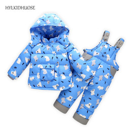 Wholesale Baby Red Overalls - HYLKIDHUOSE 2017 Baby Girls Boys Winter Suits Infant Down Outdoor Clothes Sets Thick Windproof Children Kids Coats+Overalls