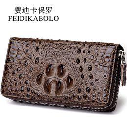 Wholesale credit card embossing - FEIDIKABOLO 3D Embossing Alligator Fashion Crocodile Long Clutch Wallets men Double zipper Leather Men's Purse Business Carteras