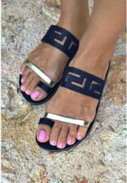 Zapatos de bajo comercio online-Zapatillas de mujer bajo 2018 Verano Nuevo Patrón de Comercio Exterior Flipflop 34-43 Código Sandalias de mujer zapatos de tacón plano multicolor Markdown venta
