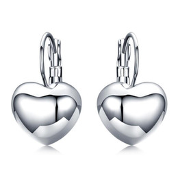 Wholesale Earring Leverback - New Fashion Wholesale Jewelry Simple Smooth 18K Gold Plated Heart Leverback Earrings Fashion Jewelry for Women Gifts