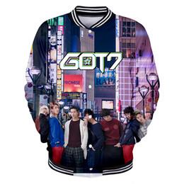 Cappotti uomo kpop online-BTS coreano Kpop GOT7 3D Giacche Nuovi uomini Giacche Moda cappotti Uomo e donna Stand Popolare Idol Team got7 Giacca XXS-4XL cappotto