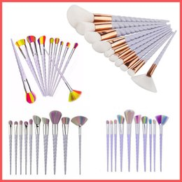 Free Shipping by ePacket Mermaid Makeup Brushes 10 PCS Screw Makeup Brushes Sets The fan brush Makeup Tools In stock