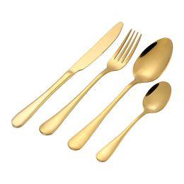 Cuchillos online-Vajilla de oro brillante Cubiertos de oro Cubiertos de oro Cuchillo Cuchara Tenedor Vajilla Suministros de boda de acero inoxidable al por mayor