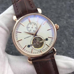 Wholesale wind shops - New Brown Leather Fashion Mechanical Men's Stainless Steel Automatic Movement Watch Sports mens Self-wind Watches Wristwatch free shopping