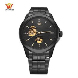 Ouyawei relógios automático de aço inoxidável on-line-2017 OUYAWEI Luxo Esqueleto Mecânico Automático Assista Diamante Mostrador de Aço Inoxidável Banda Relógio de Pulso Dos Homens de 5 Cores para Melhor Presente