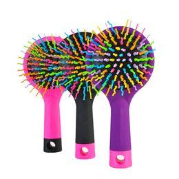 Wholesale volume hair tool - Magic Hair Comb Brush Rainbow Volume Styling Tools Anti Tangle Anti-static Head Massager Hairbrush With Mirror
