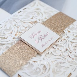 Luxury Rose Gold Laser Cut Wedding Invites With Glittery Bottom Card And Belly Band, Provide Free Printing, Free shipping