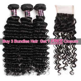 14 inch free part closure Coupons - Big Spring Sales Promotion Buy 3 Bundles Brazillian Deep Wave Unprocessed Peruvian Human Hair Get One Free Closure Free Part