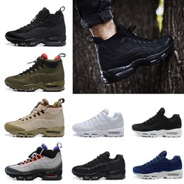 Wholesale Light Blue Ankle Boots - Wholesale Air 95 Cushion 95 Anniversary MID Men Shoes boot triple white black Sneakers Army green ankle running shoes Man sport shoes