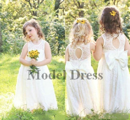 Wholesale cheap t shirts for kids - 2018 New Cupcake Full Lace Garden Flower Girl Dresses For Weddings Boho Fashion Little Baby Communion Dress Cheap A Line Kids Formal Wear