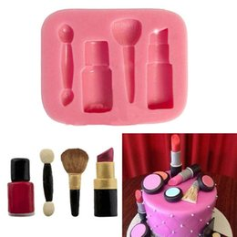 Wholesale Cake Lipstick - Wholesale- High Quality Cake Candy Chocolate Baking Sugar DIY Mould Silicone Makeup Lipstick Mold