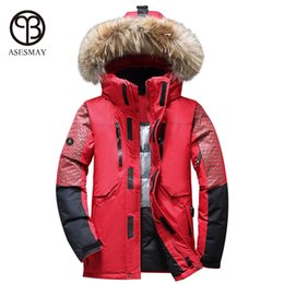 e9f3deae79a2 Asesmay 2017 casual men winter jacket thick warm white duck down parka high  quality hooded fur goose feather wellensteyn coats