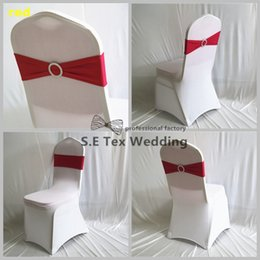 Wholesale Wholesale Chair Bows - Wholesale Price Lycra Band Spandex Chair Sash Bow Fit On Wedding Chair Cover Free Shipping