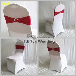 Precios de fundas para sillas de boda online-Precio al por mayor de Lycra Band Spandex Chair Sash Bow Fit en la cubierta de la silla de la boda envío gratis