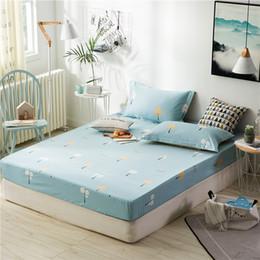 2019 queen-size-matratze Hellblau Cartoon Gras Muster 100% Baumwolle Queen Size Spannbettlaken Matratzenschoner Sheet Nicht Verblassen Nicht Pilling 180x200cm Größe günstig queen-size-matratze