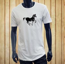 Wholesale red horse riding - HORSEBACK RIDING EQUESTRIAN HORSE SILHOUETTE FARM Men White Extended Long TShirt