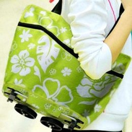Wholesale Portable Shopping Trolley - Trolley Portable Pulley Case Cart Bags Flowers in Oxford cloth folding dual-purpose tug bag with wheel rolling shopping bag