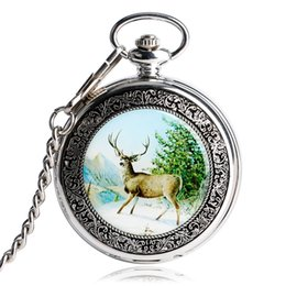 2019 женщины смотрят прозрачно 2018 новый серебряный Wapiti оленей женщины кулон смотреть цепи прозрачный скелет половина охотник механические карманные часы стали подарки MP033 скидка женщины смотрят прозрачно