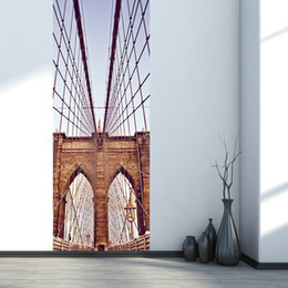 Wholesale Wall Poster New York - 3D Stereo Simulation Door Sticker New York Brooklyn Bridge Graphic Self-adhesive Waterproof Decoration Wallpaper Poster Renovate Wall Decals