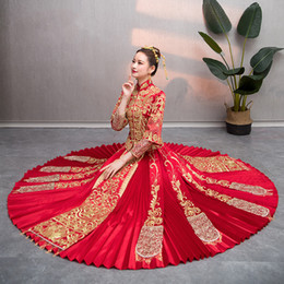 551239bf5a5 Retro Women Robe Chinois Red Traditional Gown Woman 2019 Chinese Cheongsam  Wedding Dress Qipao Vestido Oriental Style Dresses