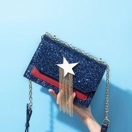 9ddf34066086 2018 New Arrival Cool Shining ELF Blue women Shoulder bag crossbody bag PU  Two Tone Leather two colors handbag drop shipping