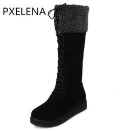 Искусственный мех подкладка женщин зима онлайн-PXELENA 2017 новая зима теплая горячая продажа искусственной замши сапоги Женские плоские зашнуровать мех выстроились колено высокие ботинки снега Женская обувь плюс размер