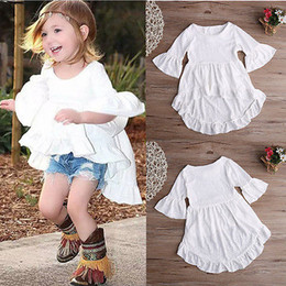 Wholesale Girls Batwing Tops - 2016 New Fashion Baby Girls Dress Cute Kids 1-6Y Little Girl Summer Short Sleeve Asymmetric Top Dress White Princess Dress