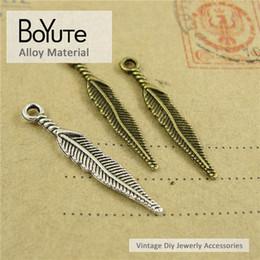 Las piezas hacen la joyería online-BoYuTe (200 Unids / lote) 5 * 28 MM Accesorios de La Vendimia Piezas de Bronce Antiguo Pluma de Metal de Plata Diy Collar de Encantos para La Joyería Que Hace Resultados