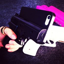 Wholesale Plastic Iphone 5c Cases - 3D Gun Shape Hard Phone Shell & Soft Cat Case Cover for iPhone 5S 5C 6 6S 7 8 Plus X