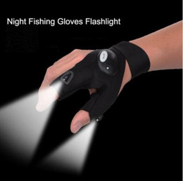 Wholesale outdoor lighting repair - light fishing gloves sport repair lighting gloves outdoor repair LED lights Gloves Hunting Fishing Glove KKA4848