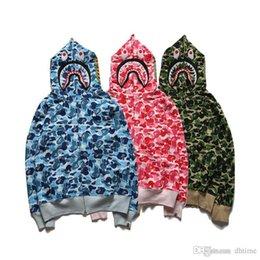 Animali da camuffamento online-Felpe con cappuccio da uomo Shark Mouth Camo con cappuccio Logo Felpe con cappuccio da uomo Camouflage con cappuccio mimetico blu Verde Felpe con cappuccio da skateboard rosa