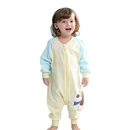 Wholesale Thin Cotton Blanket - Baby Cotton Toddler Thinner Sleeping Bag Sack Long Sleeve Wearable Blanket Girl and Boy's For Spring Summer Fall (yellow+blue)