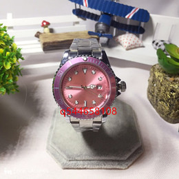 Wholesale Button Watch Batteries - Relogio female watch high-end watches are fashionable pink dial calendar Bracelet button button button female quartz core, quartz watch 2017