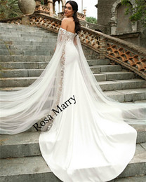 Wholesale sexy mermaid halter wedding - Sexy Caped Halter Mermaid Wedding Dresses 2018 Plus Size Vintage Lace Country Beach African Arabic Style Bridal Gowns with Long Sleeves