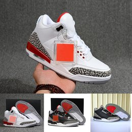 Calzado deportivo entrega gratis online-NIKE Entrega gratuita nueva 3 cemento negro verdadero azul cemento blanco deportes infrarrojos azul 23 Wolf zapatos de baloncesto masculino gris para hombres zapatillas 8-13