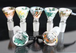 2019 einzigartige tropfflaschen Berauschende farbige Glas Räucherschale 14 mm 18 mm männlich Schüssel mit Griff schöne Folie für Glas Bubbler und Ash Catcher Bong Schalen