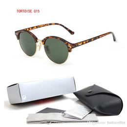 sonnenbrillen farbige linsen Rabatt 2018 Klassische Runde Gläser Frauen Markendesigner Heiße Sonnenbrille Farbige Linsen Männer Fahren Brille 4246 MIT BOX