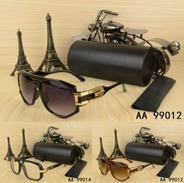 Wholesale Big Size Sunglasses - Top quality fashion Luxury brand Design Big size men woman Sunglasses with origianal box and case eyeglasses gold frame Retro Round glasses